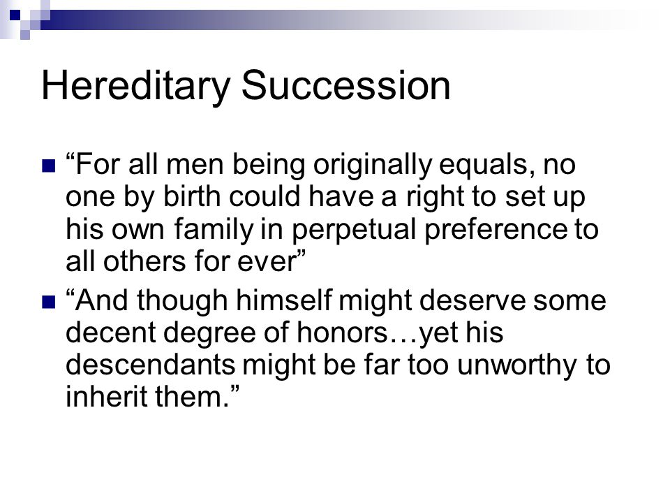 Hereditary Succession