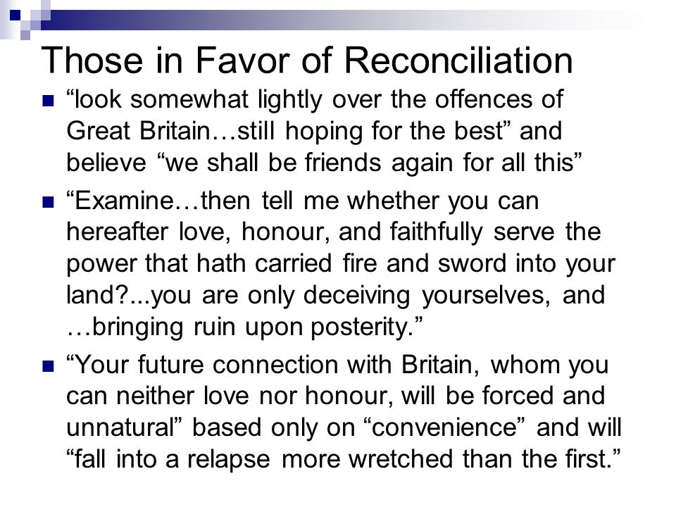 Those in Favor of Reconciliation