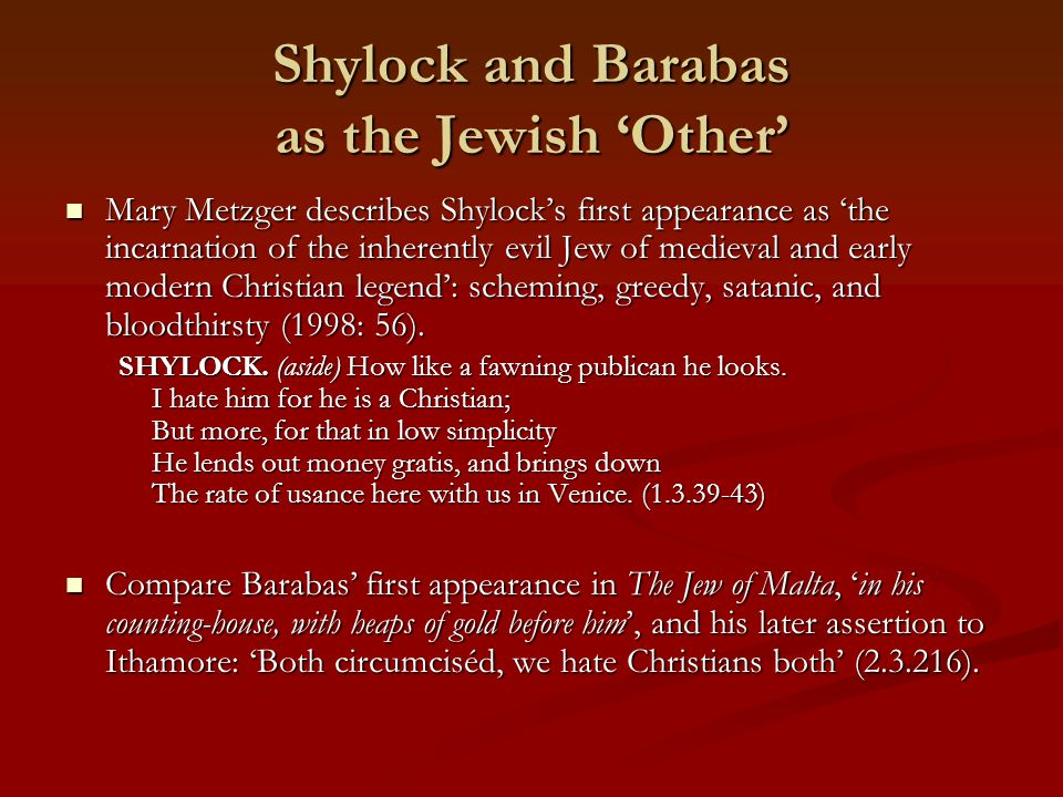 Shylock and Barabas as the Jewish 'Other'