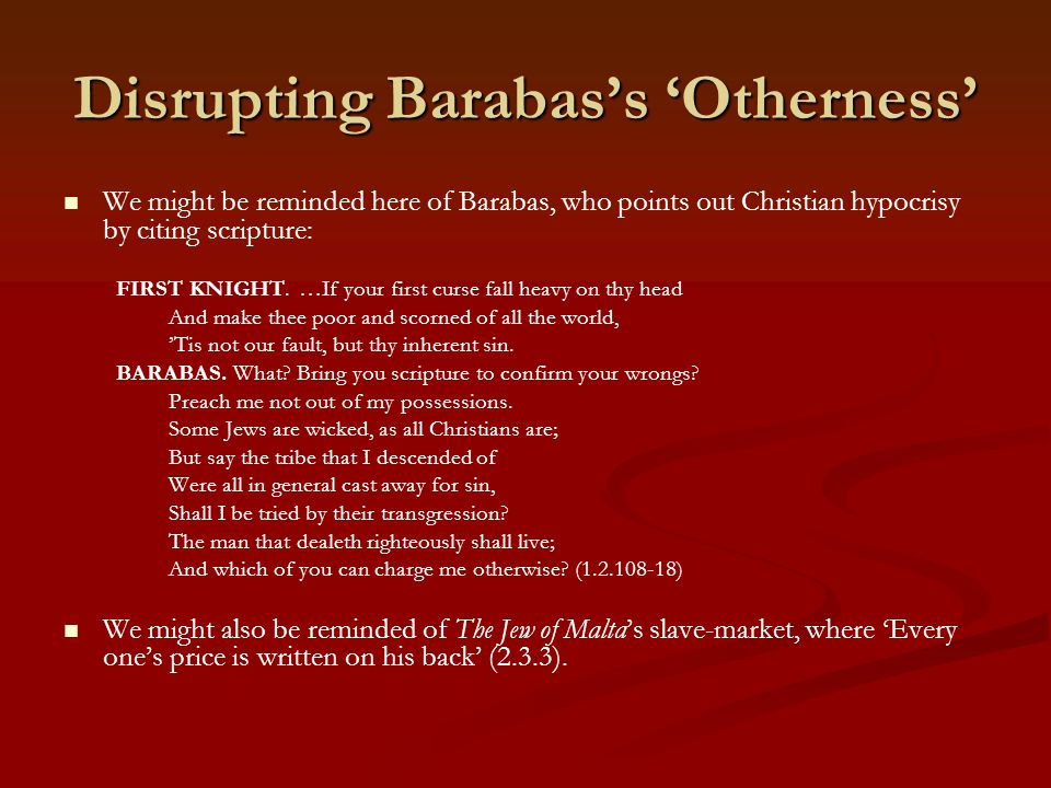 Disrupting Barabas's 'Otherness'