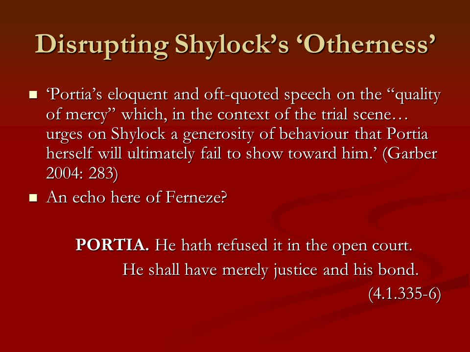 Disrupting Shylock's 'Otherness'