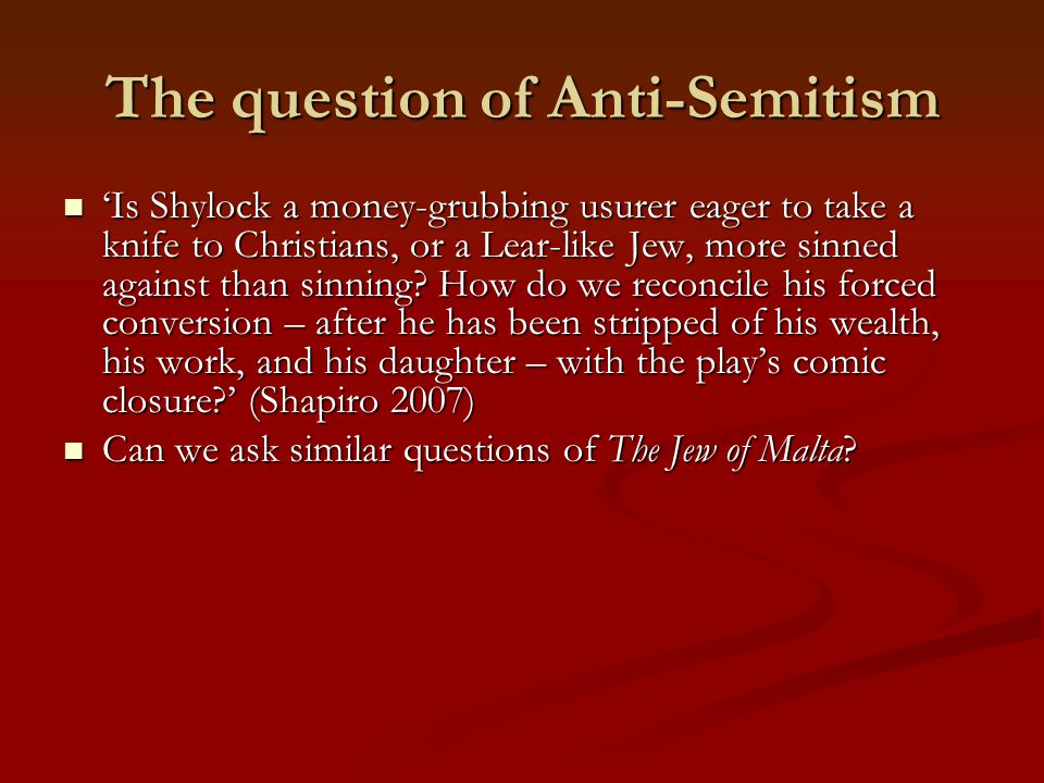 The question of Anti-Semitism