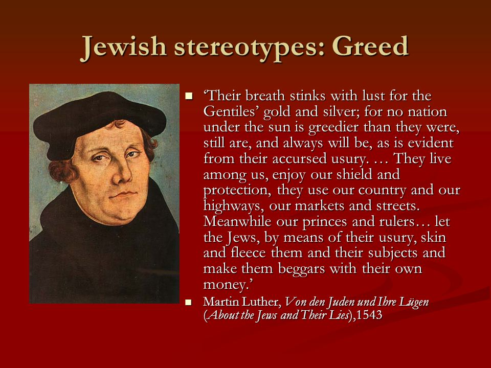 Jewish stereotypes: Greed