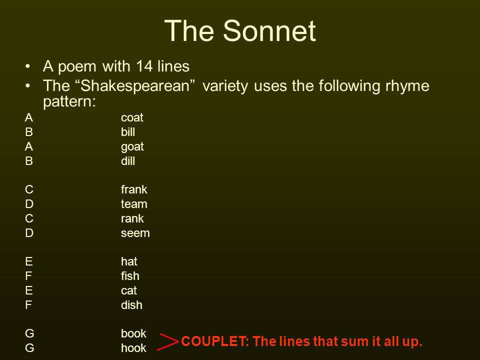 The Sonnet A poem with 14 lines