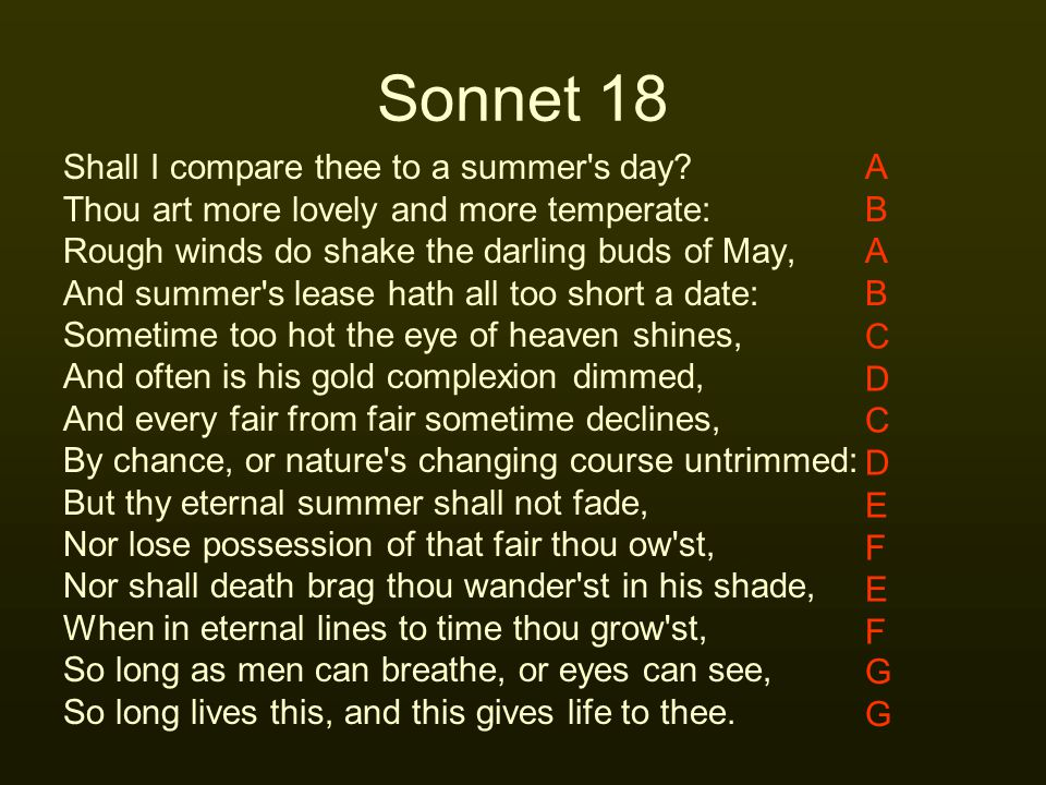 Sonnet 18 Shall I compare thee to a summer s day
