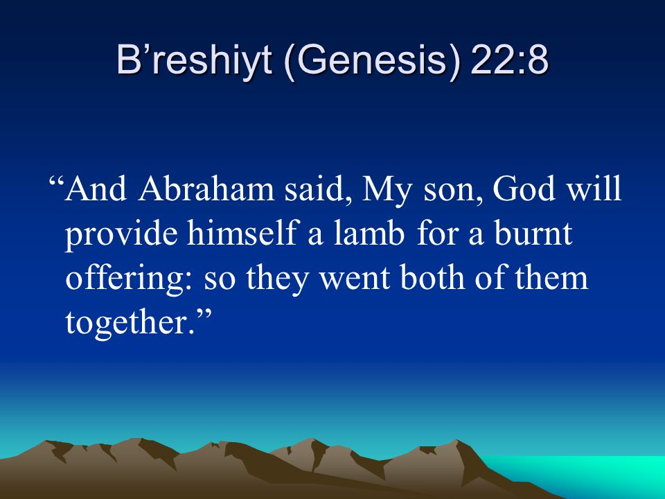 B'reshiyt (Genesis) 22:8 And Abraham said, My son, God will provide himself a lamb for a burnt offering: so they went both of them together.