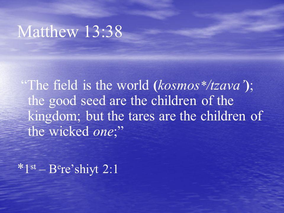 Matthew 13:38 *1st – Bere'shiyt 2:1