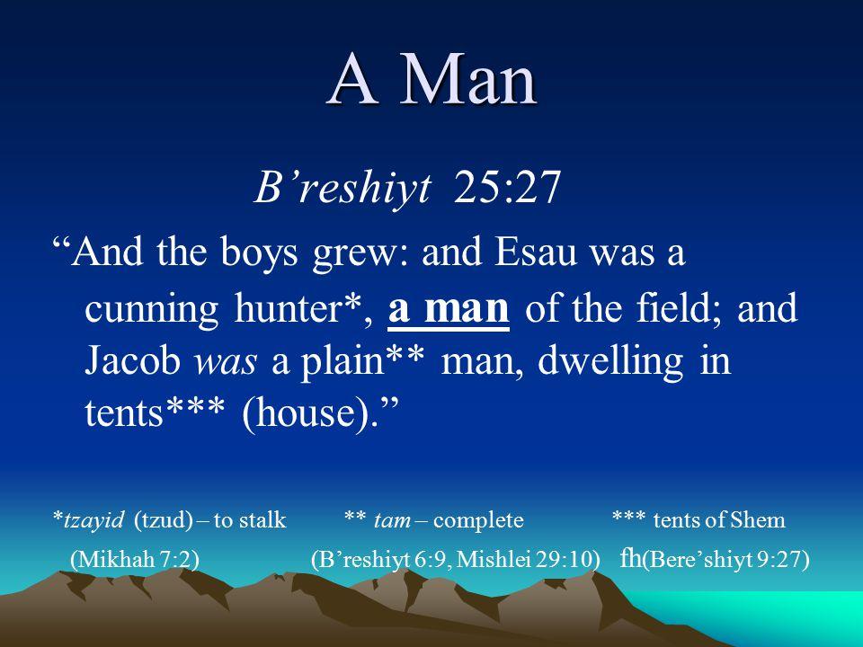 A Man B'reshiyt 25:27.