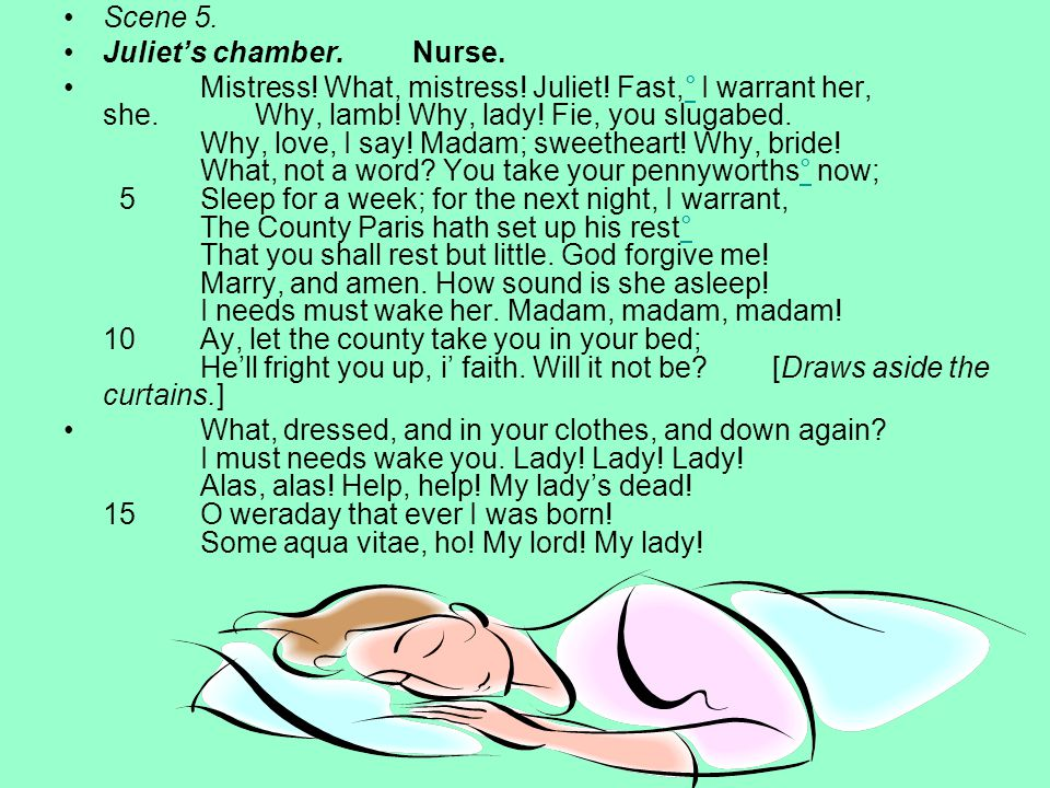 Scene 5. Juliet's chamber. Nurse.