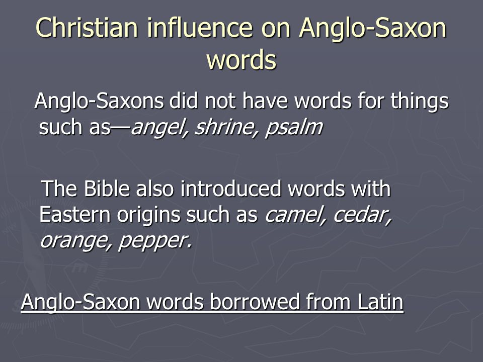 Christian influence on Anglo-Saxon words