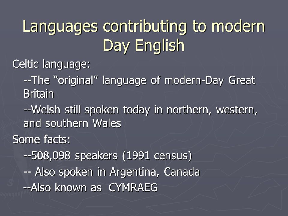 Languages contributing to modern Day English