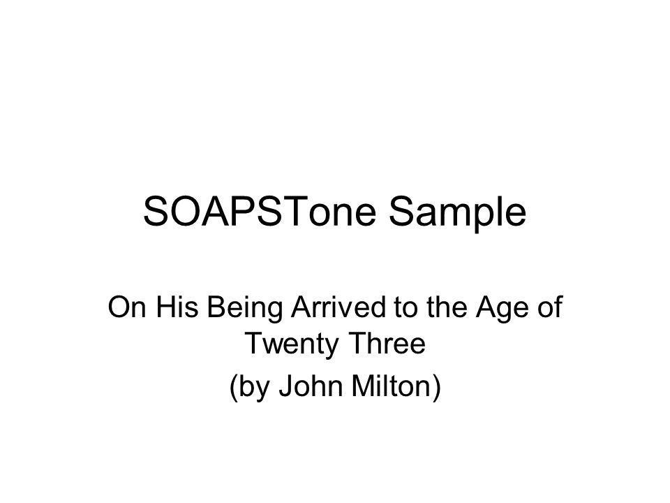On His Being Arrived to the Age of Twenty Three (by John Milton)