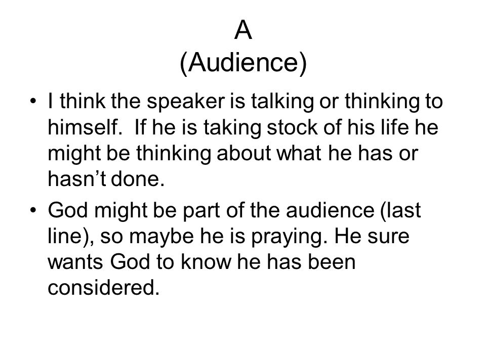 A (Audience)