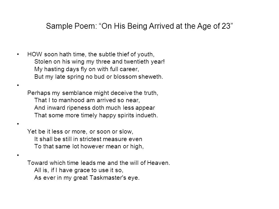 Sample Poem: On His Being Arrived at the Age of 23
