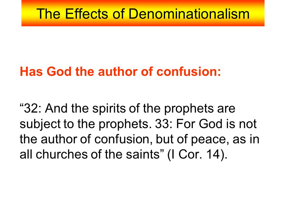The Effects of Denominationalism