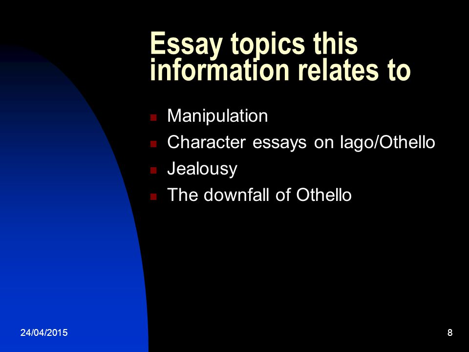 Essay topics this information relates to
