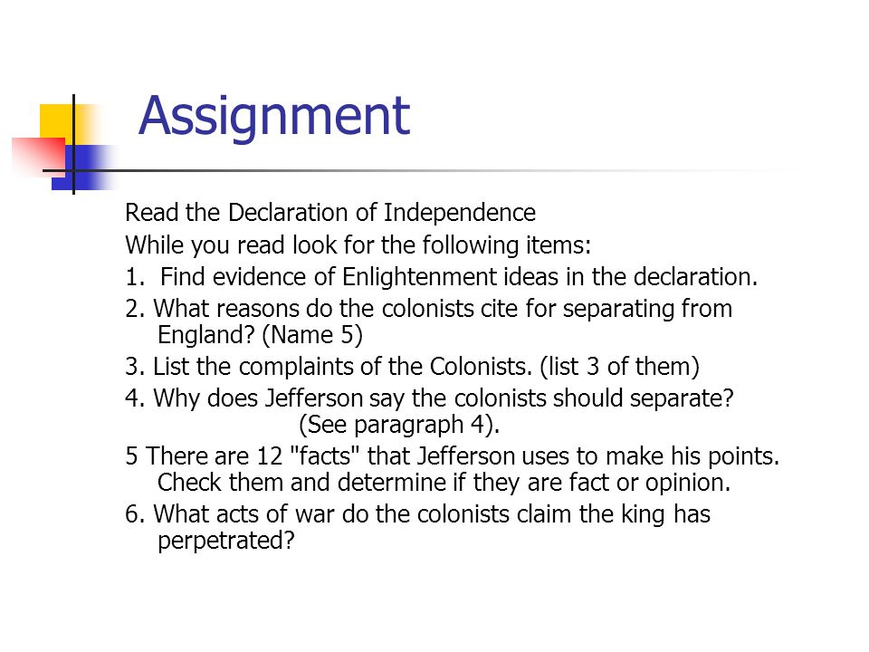 Assignment Read the Declaration of Independence