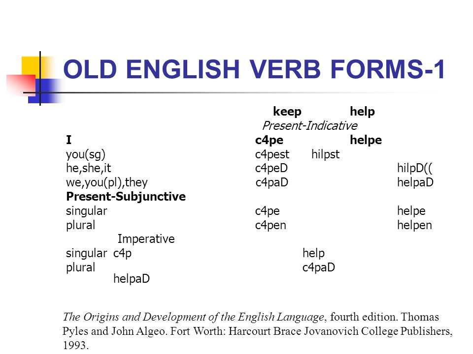 OLD ENGLISH VERB FORMS-1