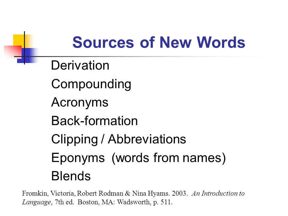 Sources of New Words Derivation Compounding Acronyms Back-formation