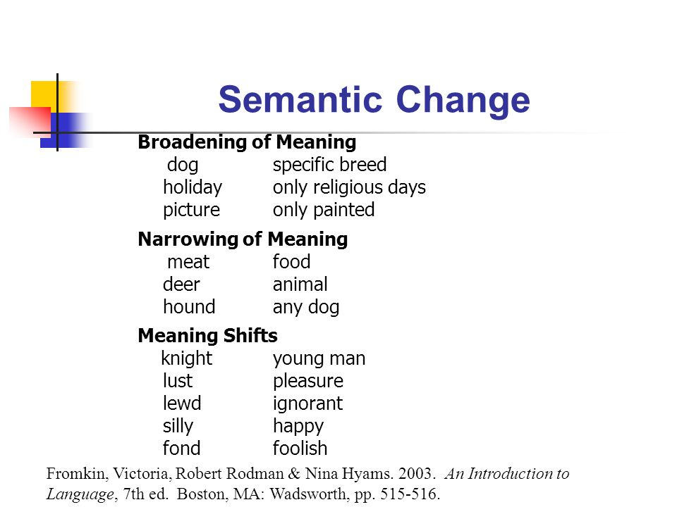 Semantic Change Broadening of Meaning dog specific breed