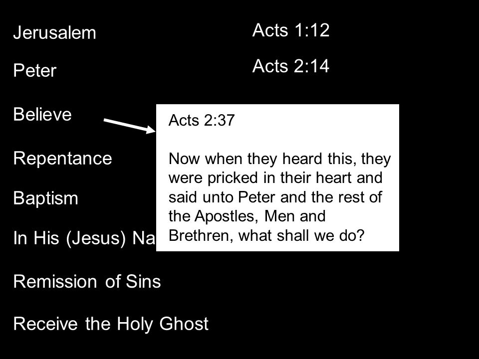 Jerusalem Acts 1:12 Acts 2:14 Peter Believe Repentance Baptism