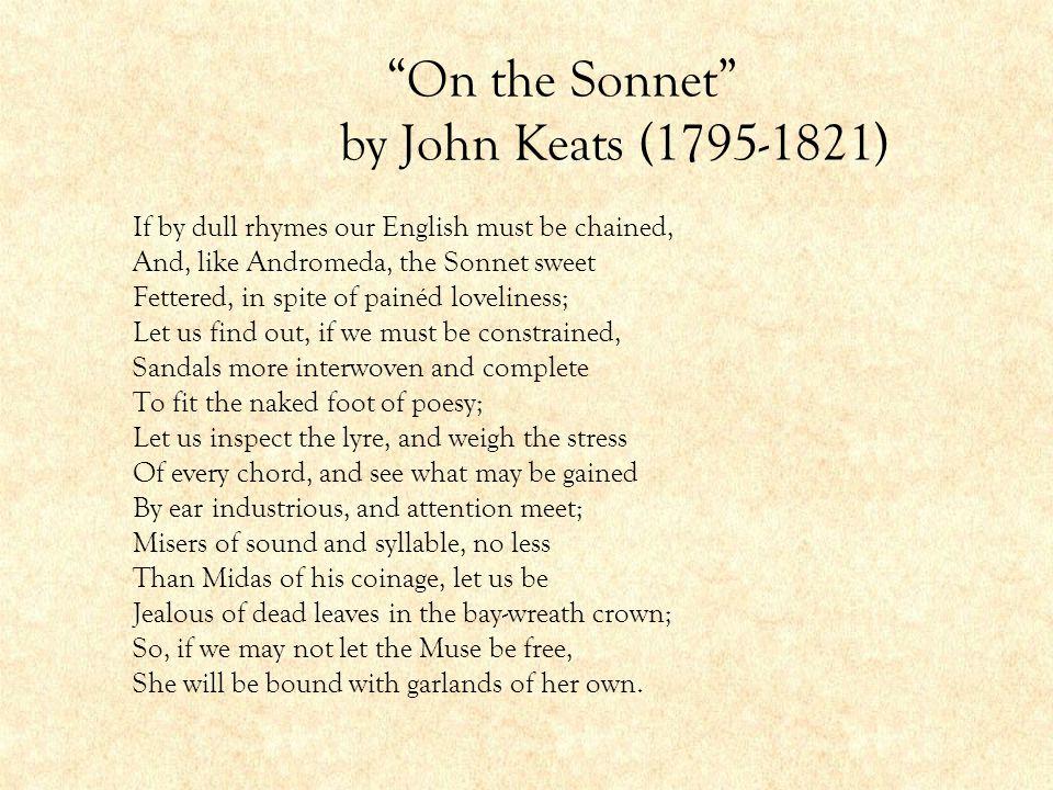 On the Sonnet by John Keats (1795-1821)
