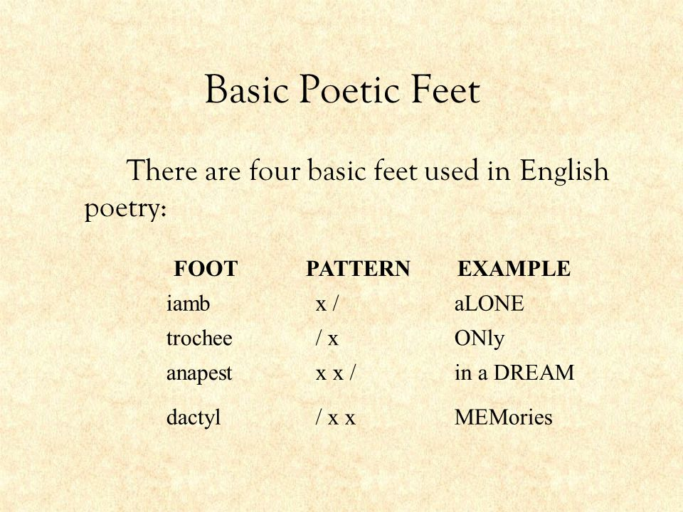 Basic Poetic Feet There are four basic feet used in English poetry: