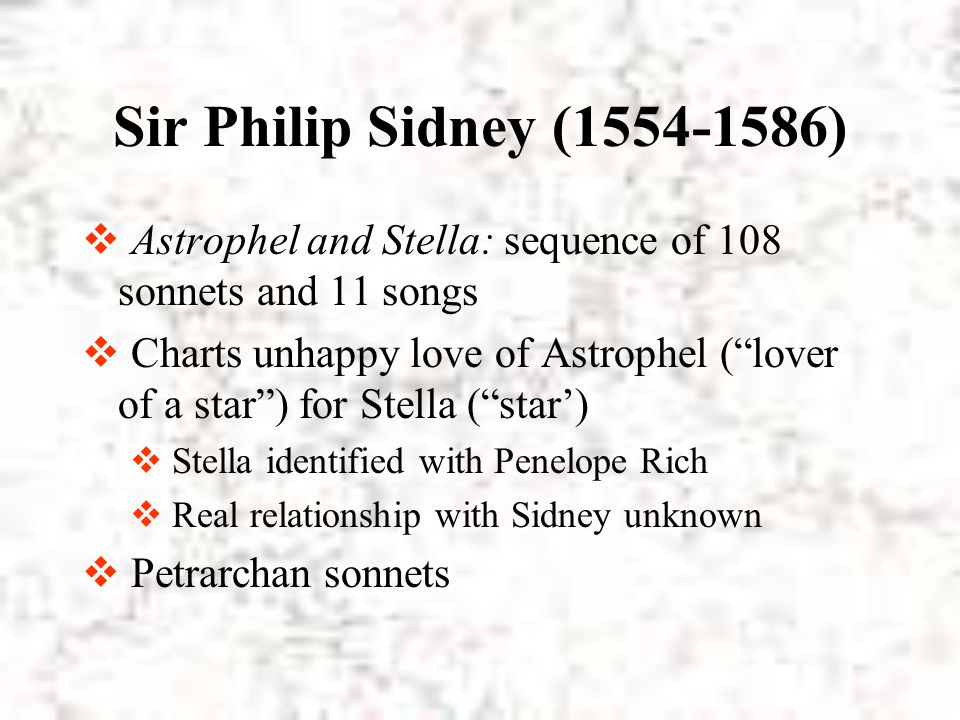 Sir Philip Sidney (1554-1586) Astrophel and Stella: sequence of 108 sonnets and 11 songs.