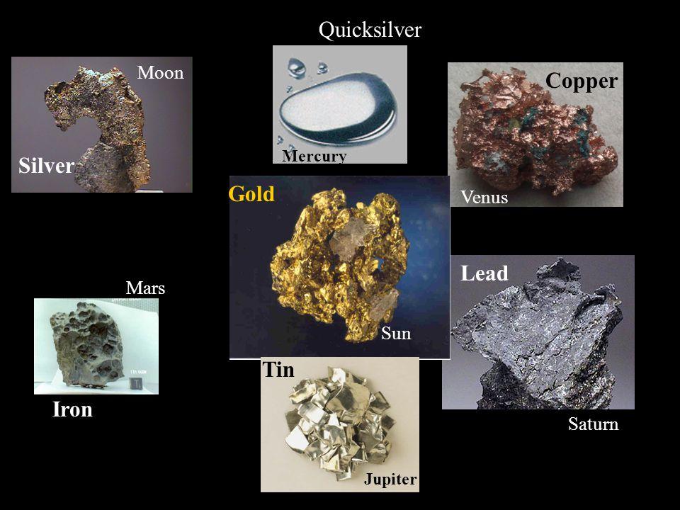 Quicksilver Copper Silver Gold Lead Tin Iron Jupiter Moon Venus Mars