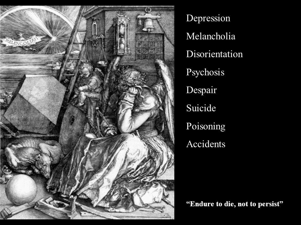 Depression Melancholia Disorientation Psychosis Despair Suicide