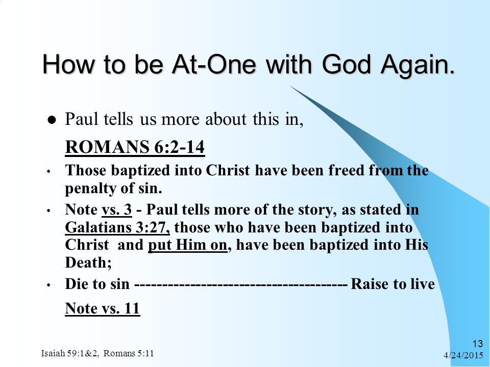 How to be At-One with God Again.