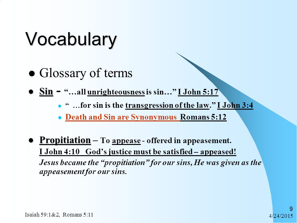 Vocabulary Glossary of terms
