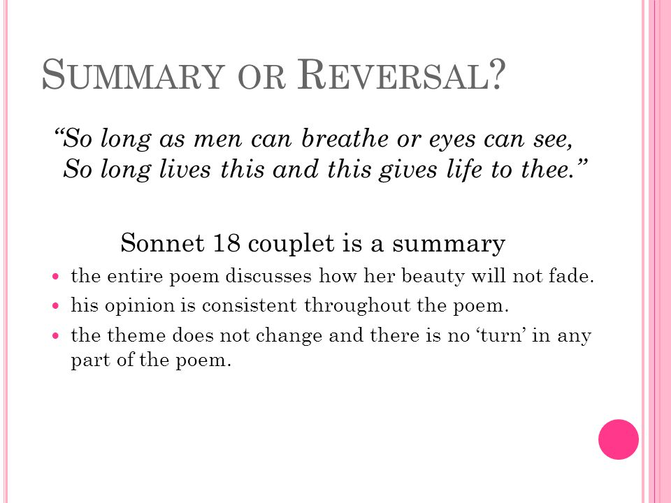 Sonnet 18 couplet is a summary