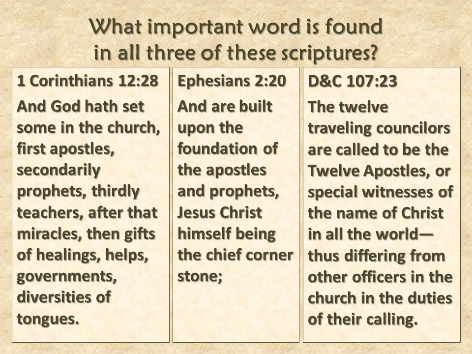 What important word is found in all three of these scriptures