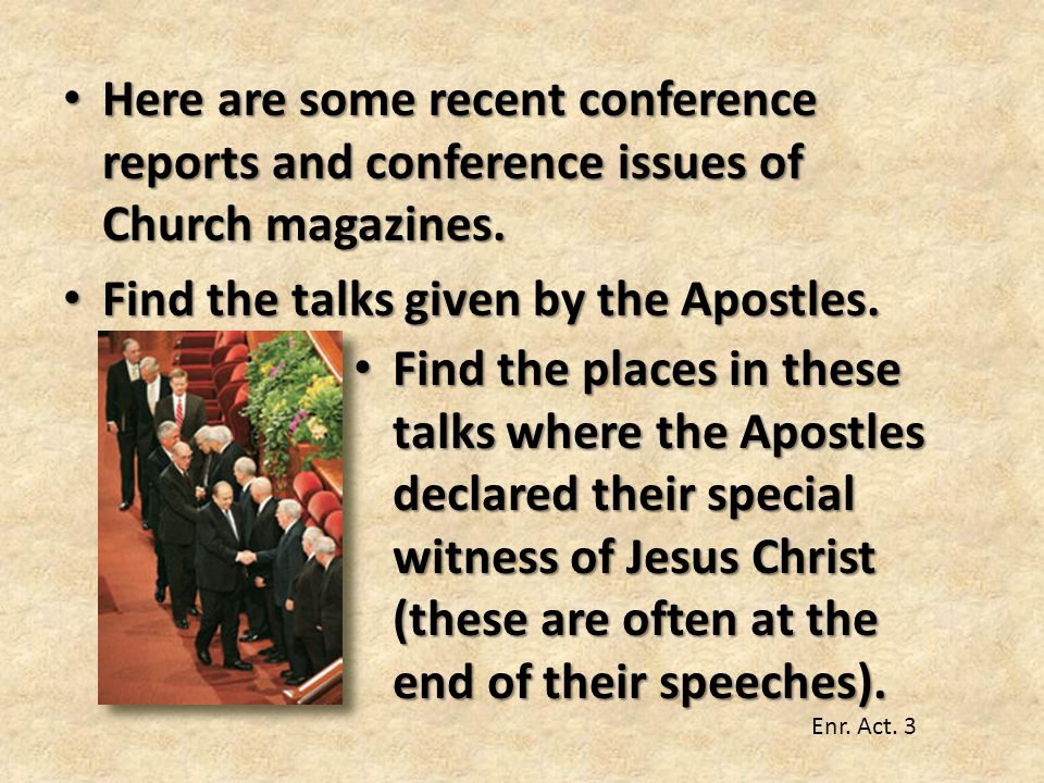 Find the talks given by the Apostles.