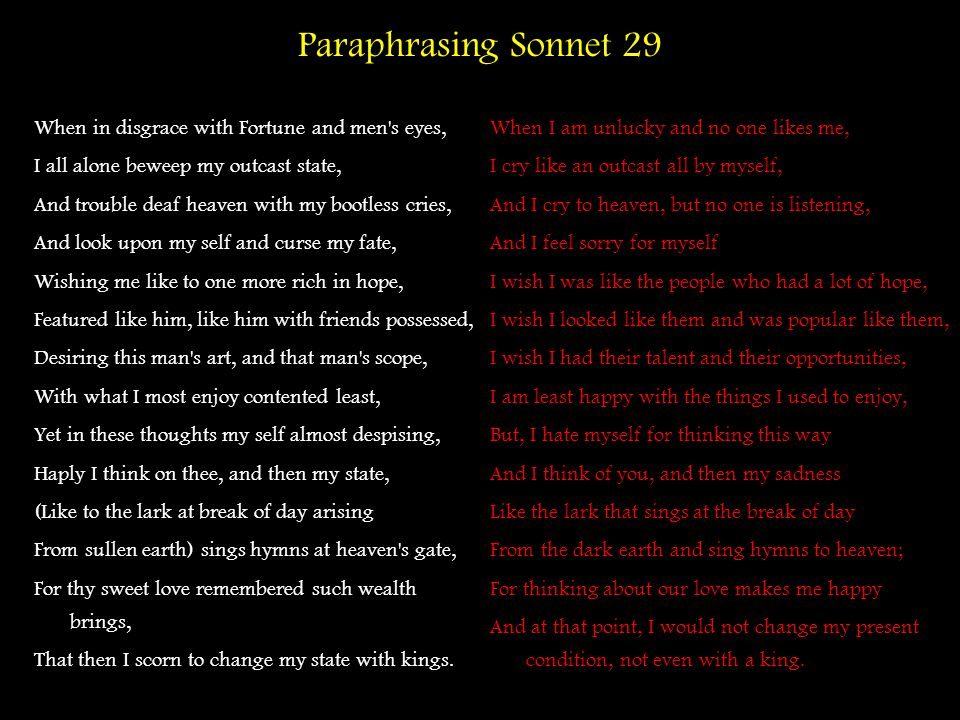 Paraphrasing Sonnet 29 When in disgrace with Fortune and men s eyes,