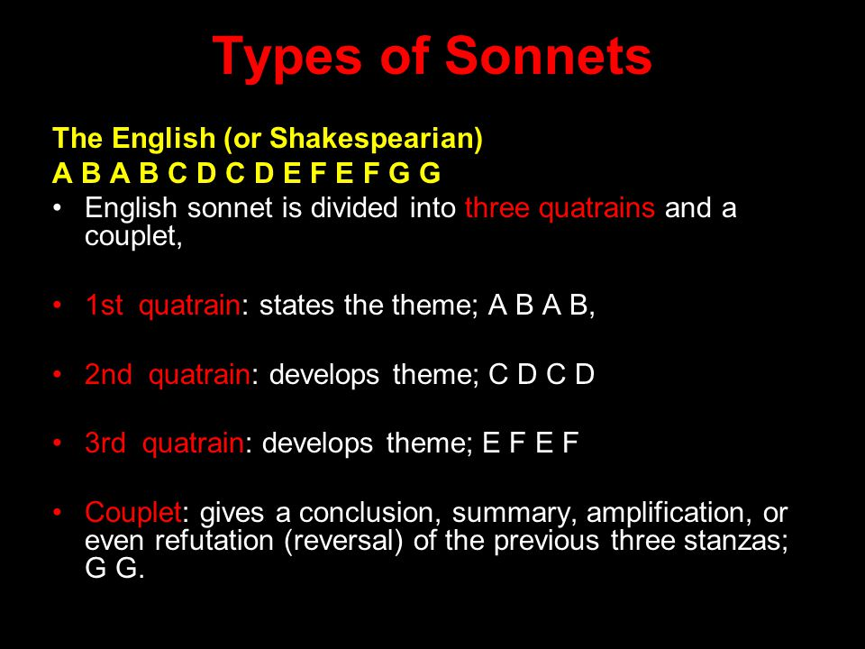 Types of Sonnets The English (or Shakespearian)