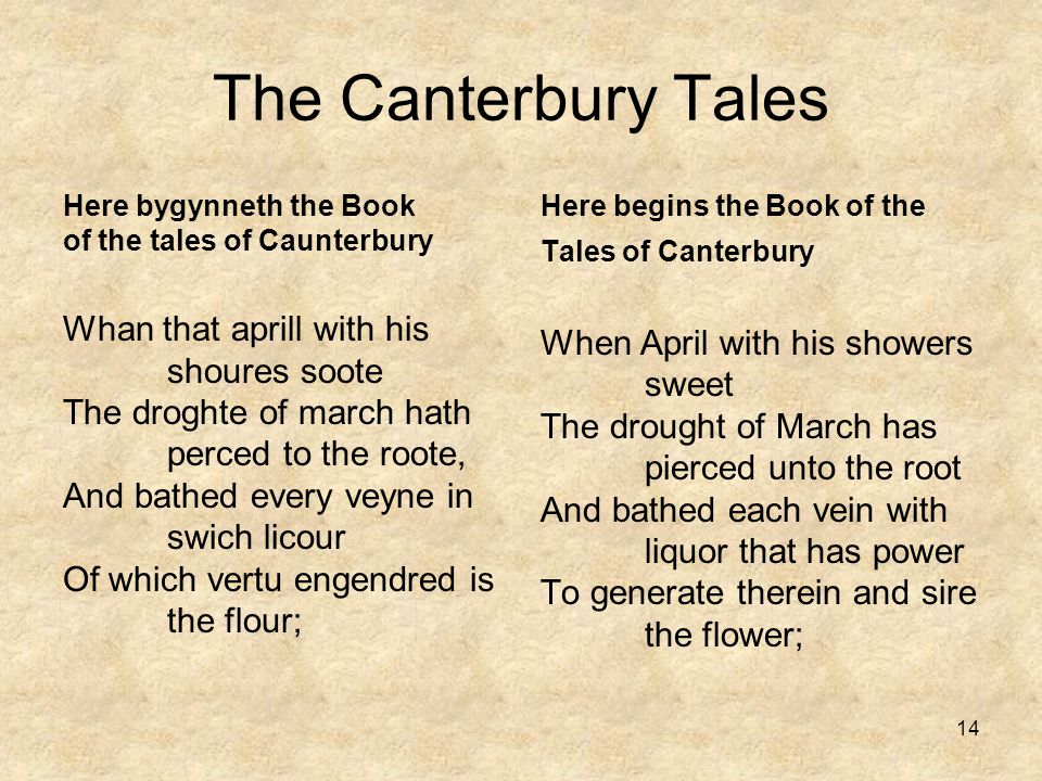 The Canterbury Tales Here bygynneth the Book of the tales of Caunterbury.