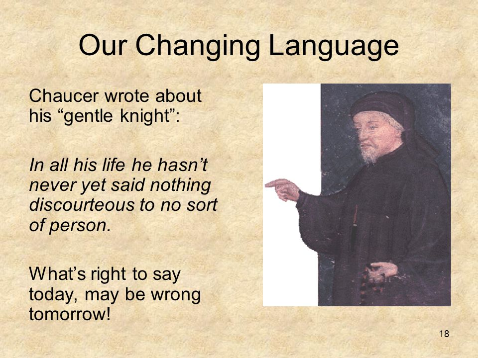 Our Changing Language Chaucer wrote about his gentle knight :