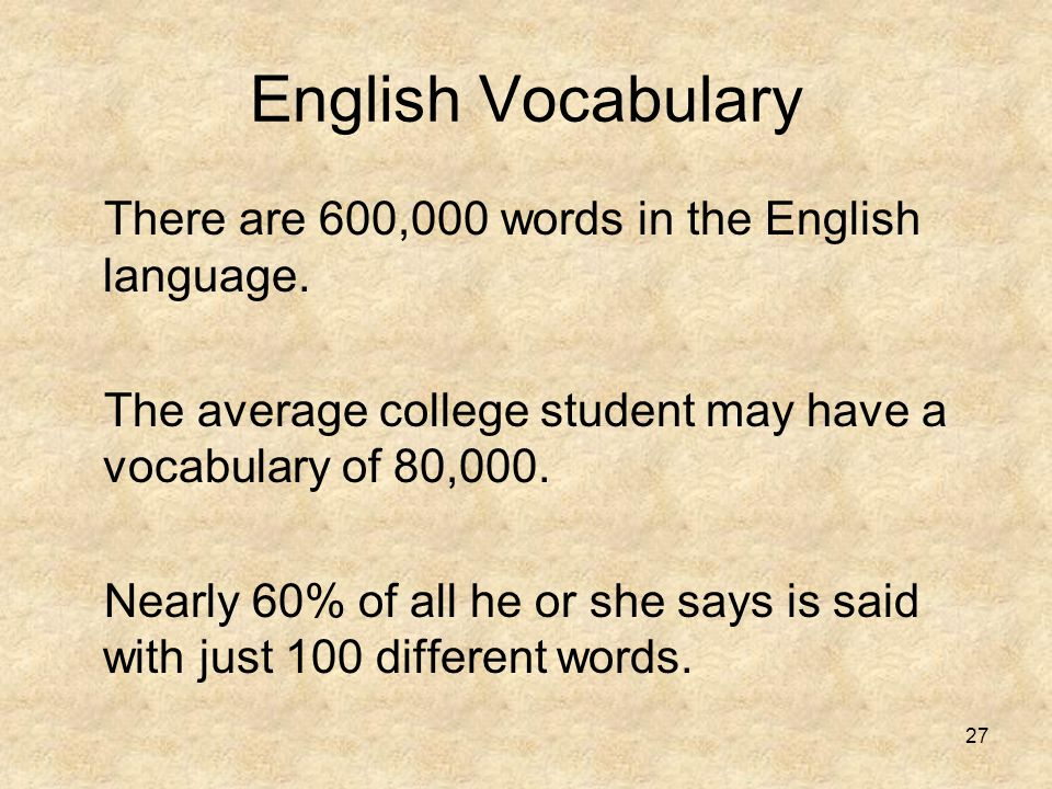 English Vocabulary There are 600,000 words in the English language.