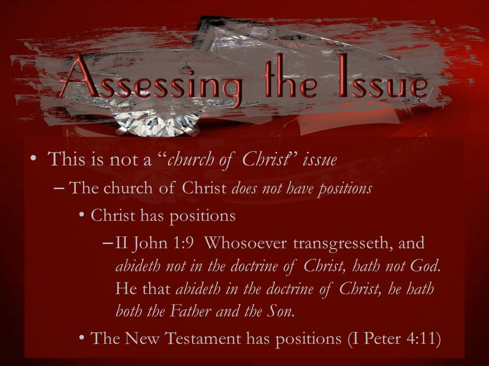 This is not a church of Christ issue