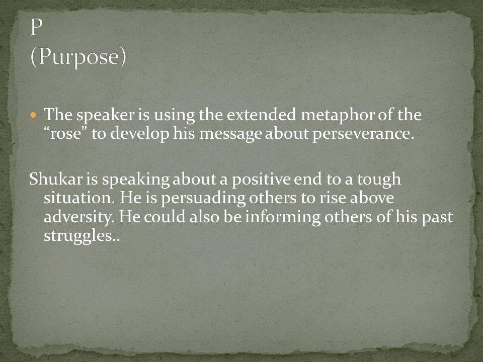 P (Purpose) The speaker is using the extended metaphor of the rose to develop his message about perseverance.