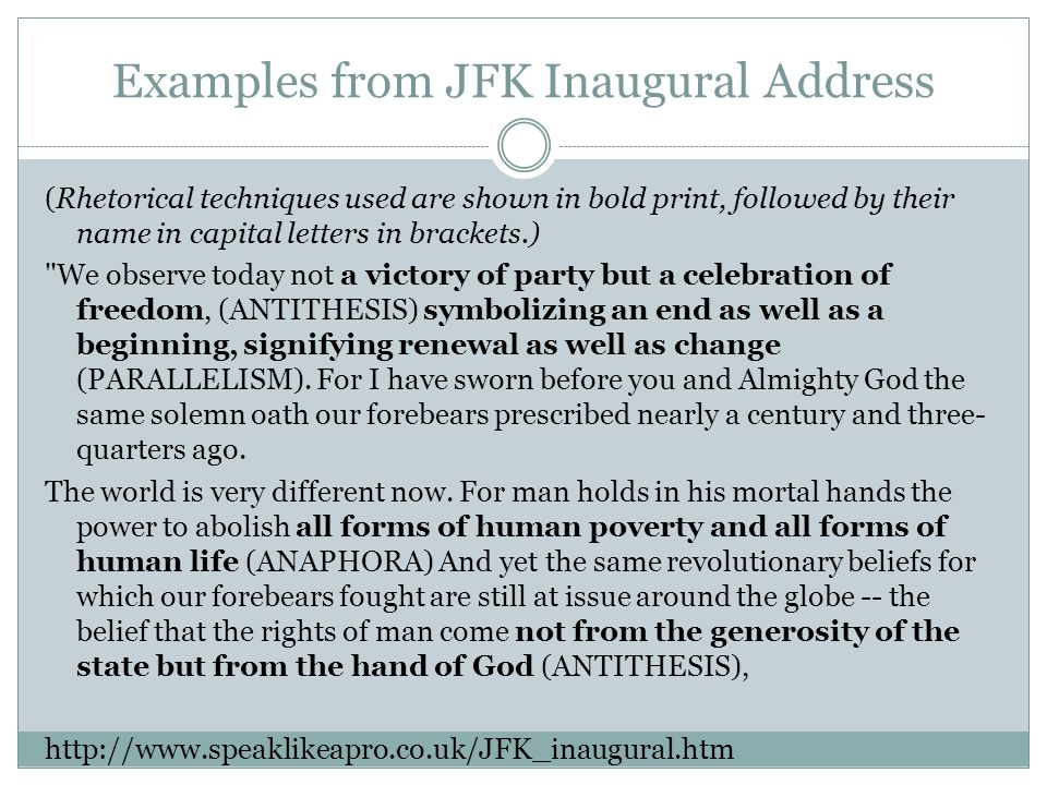 Examples from JFK Inaugural Address