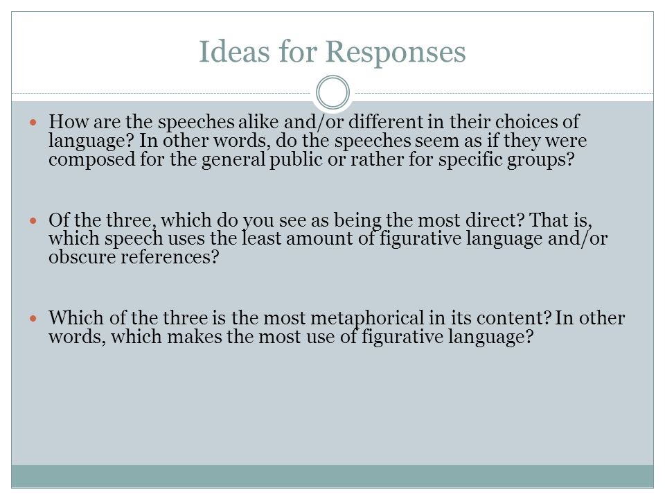 Ideas for Responses