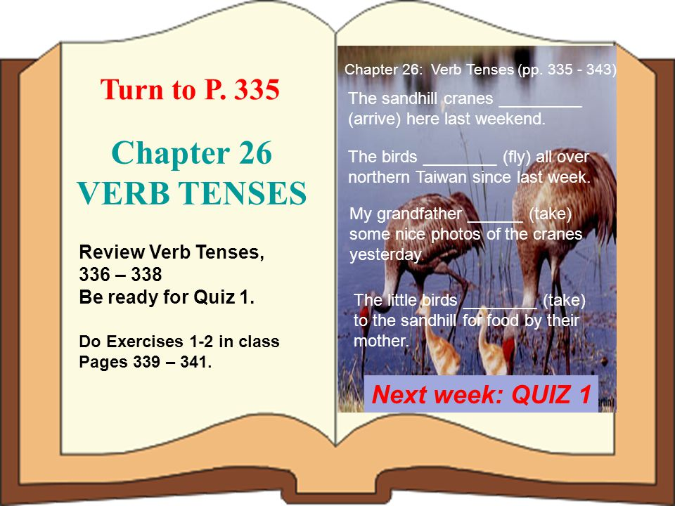 Chapter 26 VERB TENSES Turn to P. 335 Next week: QUIZ 1