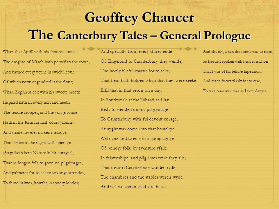 Geoffrey Chaucer The Canterbury Tales – General Prologue