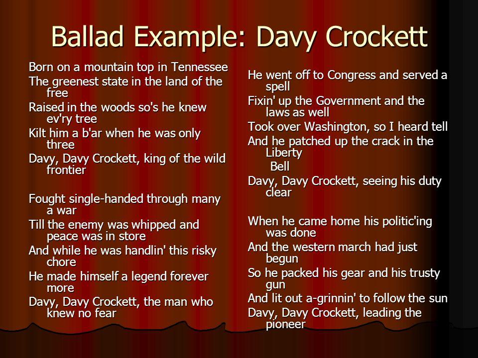 Ballad Example: Davy Crockett