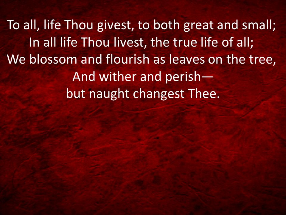 To all, life Thou givest, to both great and small; In all life Thou livest, the true life of all; We blossom and flourish as leaves on the tree, And wither and perish— but naught changest Thee.
