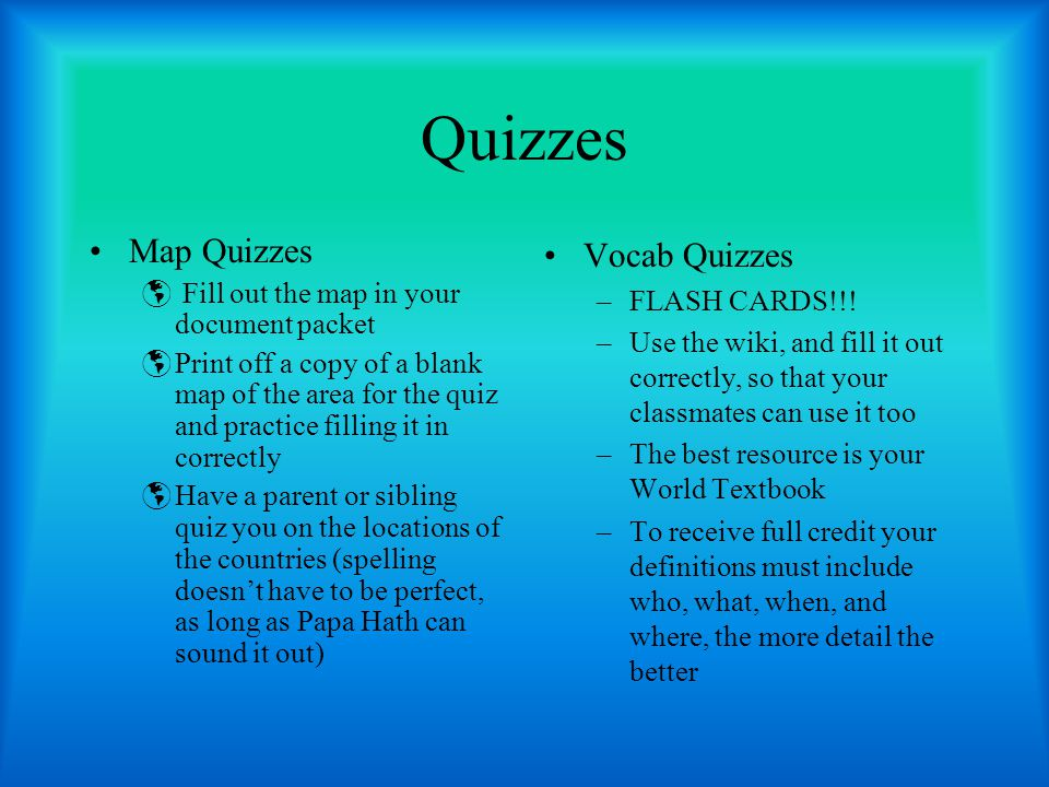 Quizzes Map Quizzes Vocab Quizzes