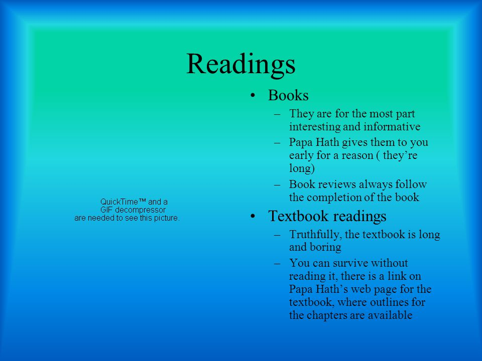 Readings Books Textbook readings